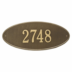 Whitehall Madison Oval Estate Wall Address Plaque - One Line