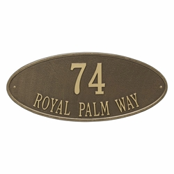 Whitehall Madison Oval Estate Wall Address Plaque - Two Line