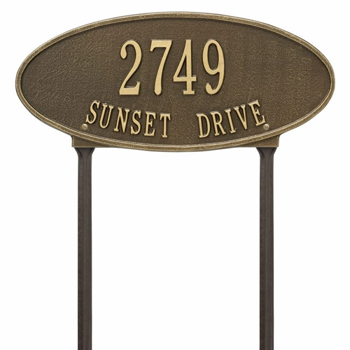 Whitehall Madison Oval Standard Lawn Address Plaque - Two Line
