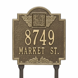 Whitehall Monogram Standard Lawn Address Plaque - Two Line