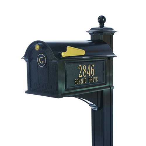 Whitehall Balmoral Mailbox Side Plaques, Monogram & Post Package- Black