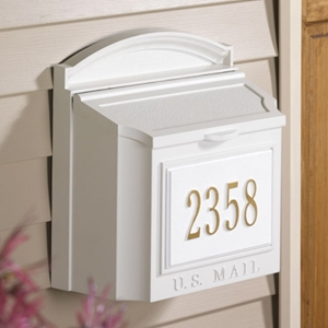 Whitehall Capital Wall Mailbox with Front Plaque - 161-03-04-05