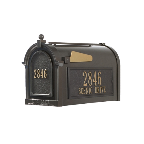 Whitehall Capitol Mailbox Side Plaques and Door Plaque Package in Bronze