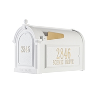 Whitehall Capitol Mailbox Side Plaques and Door Plaque Package in White
