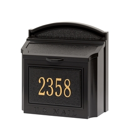 Whitehall Wall Mailbox Package in Black/Gold