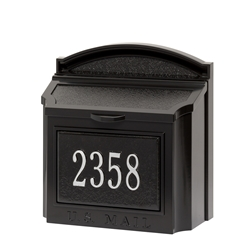 Whitehall Wall Mailbox Package in Black/Silver