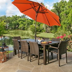 Windward Wicker Dining Set with Etched Aluminum Table - WW-BISTRO-SET1
