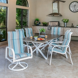 Windward Sonata Sling Outdoor Dining Set with Tahoe Plank Table - WW-SONATA-SET4