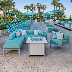 Windward South Beach Outdoor Sectional with Fire Table and Lounge Chair - WW-SOUTHBEACH-SET3