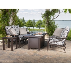 Woodard Arkadia Aluminum Cushion Loveseat and Fire Pit Set - WD-ARKADIA-SET5