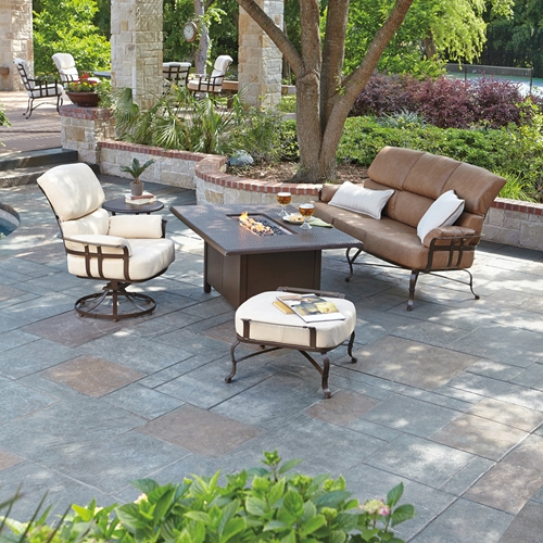 Woodard Atlas 4 Piece Fire Pit Lounge Set - WOODARD-ATLAS-SET2