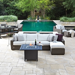 Woodard Augusta Wicker Sectional with Fire Table - WD-AUGUSTA-SET6