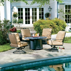 Woodard Briarwood Conversation Set with Fire Pit Table - 400077-2T0348-03348FP