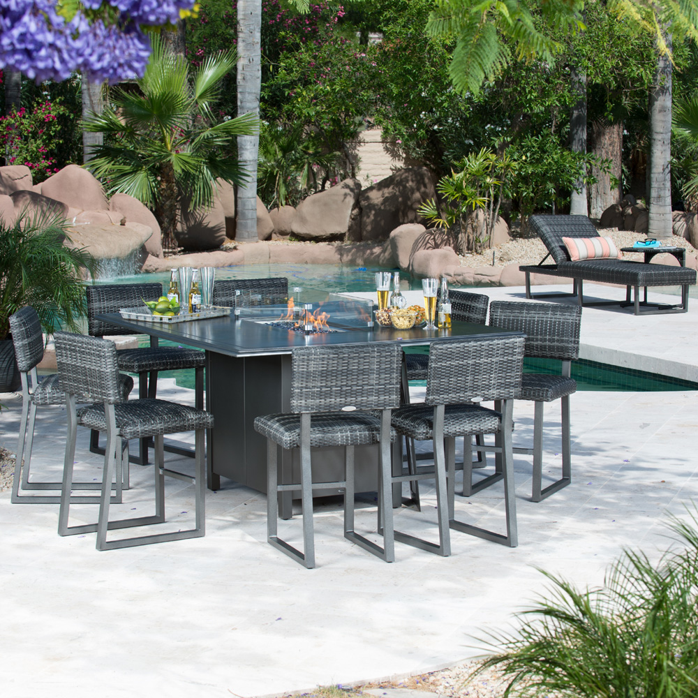 Superior Woodard Canaveral Harper Counter Height Fire Pit Set   WD CANAVERAL SET7