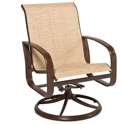 Woodard Cayman Isle Sling Swivel Rocker Dining Arm Chair - 2FX472