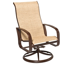 Woodard Cayman Isle Sling High Back Swivel Rocker Dining Arm Chair - 2FX488
