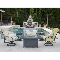 Woodard Cayman Isle Cushion Fire Pit Set - WD-CAYMAN-SET3