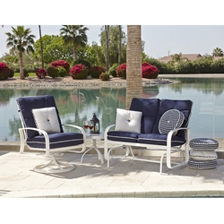 Woodard Cayman Isle Cushion Loveseat Glider and Swivel Rocker Lounge Chair Set - WD-CAYMAN-SET5