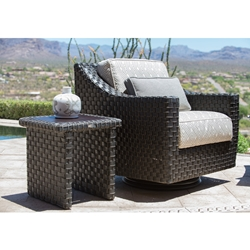 Woodard Cooper Wicker Swivel Lounge Chair and Table Set - WD-COOPER-SET2