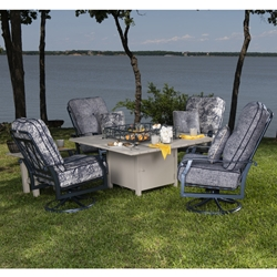 Woodard Cortland Big Mans Swivel Rocker Chairs with Fire Pit Table - WD-CORTLAND-SET7
