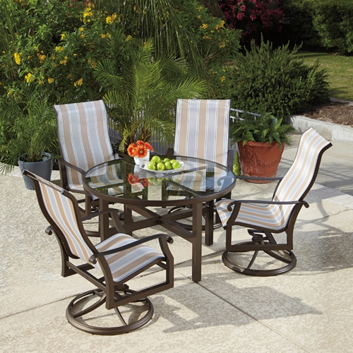 Woodard Cortland Sling 5 Piece Swivel Rocker Dining Set