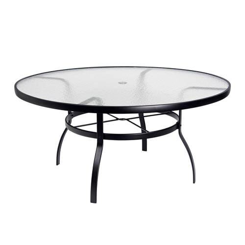 deluxe 60 round obscure glass top umbrella dining table woodard at