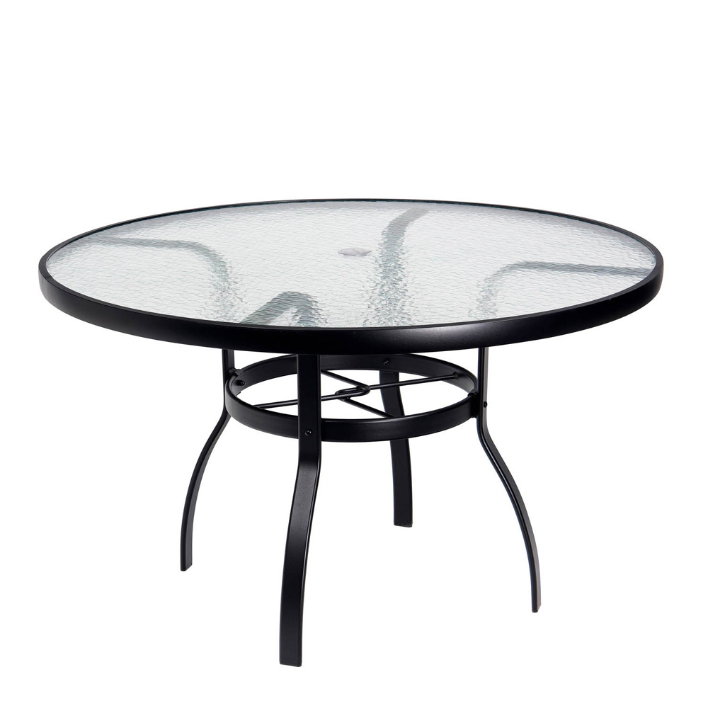 Deluxe 48 round glass top dining table woodard at for Table 52 botswana