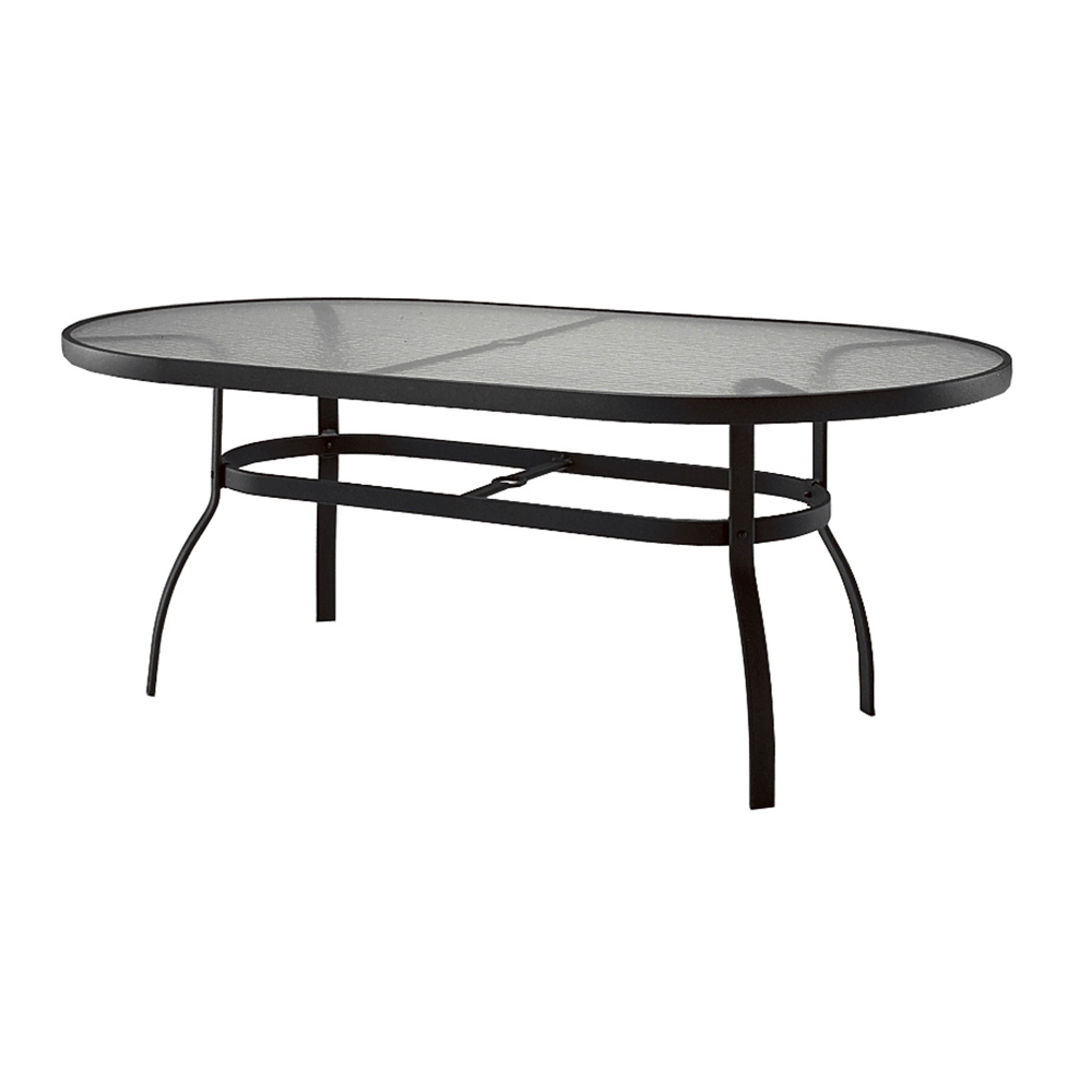 Deluxe 42 x 74 oval glass top dining table woodard at for Table 52 botswana