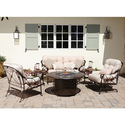 Woodard Derby Crescent Loveseat and Lounge Chair Fire Table Set - WD-DERBY-SET2