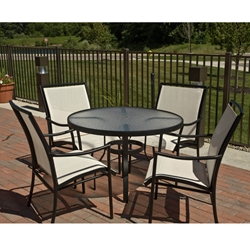 Woodard Dominica Sling Modern Patio Dining Set for 4 - WD-DOMINCA-SET1