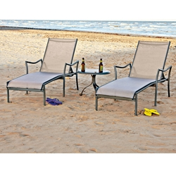 Woodard Dominica Sling Chaise Lounge Set with Side Table - WD-DOMINICA-SET4