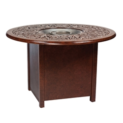 Woodard Aluminum Dining Fire Table with Round Burner - 1CM1SQRB