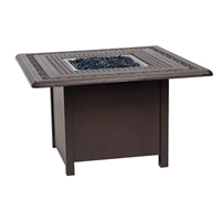 Woodard Chat Height Fire Pit with Square Burner and Empire Table Top - 650742-03343FP