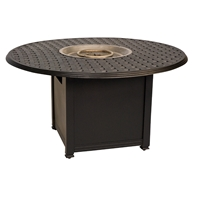 Woodard Chat Height Aluminum Square Fire Pit Table with Thatch Top - 650748-04948FP
