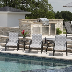 Woodard Fremont Padded Sling Aluminum Pool Chaise Set of 3 with Side Tables - WD-FREEMONT-SET4