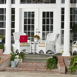 Woodard Heirloom White Wicker Rocking Chair Patio Set - WD-HEIRLOOM-SET1