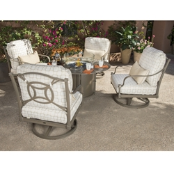 Woodard Isla Swivel Rocker Lounge Chairs with Fire Table Outdoor Furniture Set - WD-ISLA-SET3