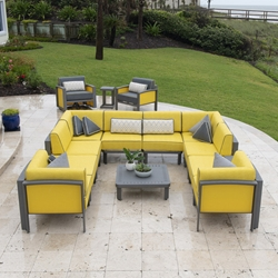 Woodard Metropolis Modular U-Shaped Outdoor Sectional - WD-METROPOLIS-SET8