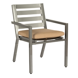 Woodard Palm Coast Slat Dining Arm Chair with Seat Cushion - 1Y0417ST
