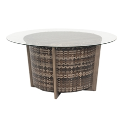 "Woodard Reunion 48"" Round Chat Height Coffee Table with Glass Top - S648213"