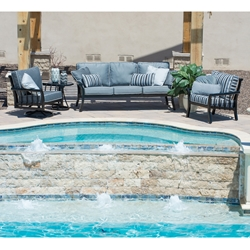 Woodard Rhyss Outdoor Furniture Set with Sofa and Lounge Chairs - WD-RHYSS-SET3