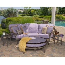Woodard Ridgecrest Crescent Sofa with Ottoman Outdoor Furniture Set - WD-RIDGECREST-SET5