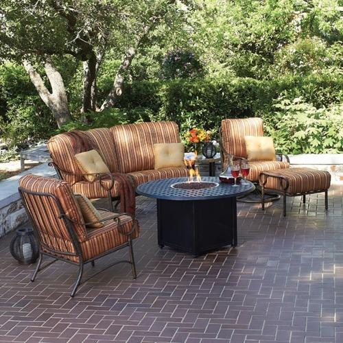 Ridgecrest Cushion Fire Pit Patio Furniture Set Woodard
