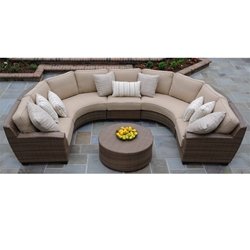 Woodard Saddleback U-Shaped Wicker Sectional - WC-SADDLEBACK-SET6