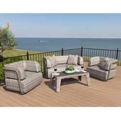Woodard Santa Fe Outdoor Wicker Loveseat and Lounge Chair Set - WD-SANTAFE-SET1