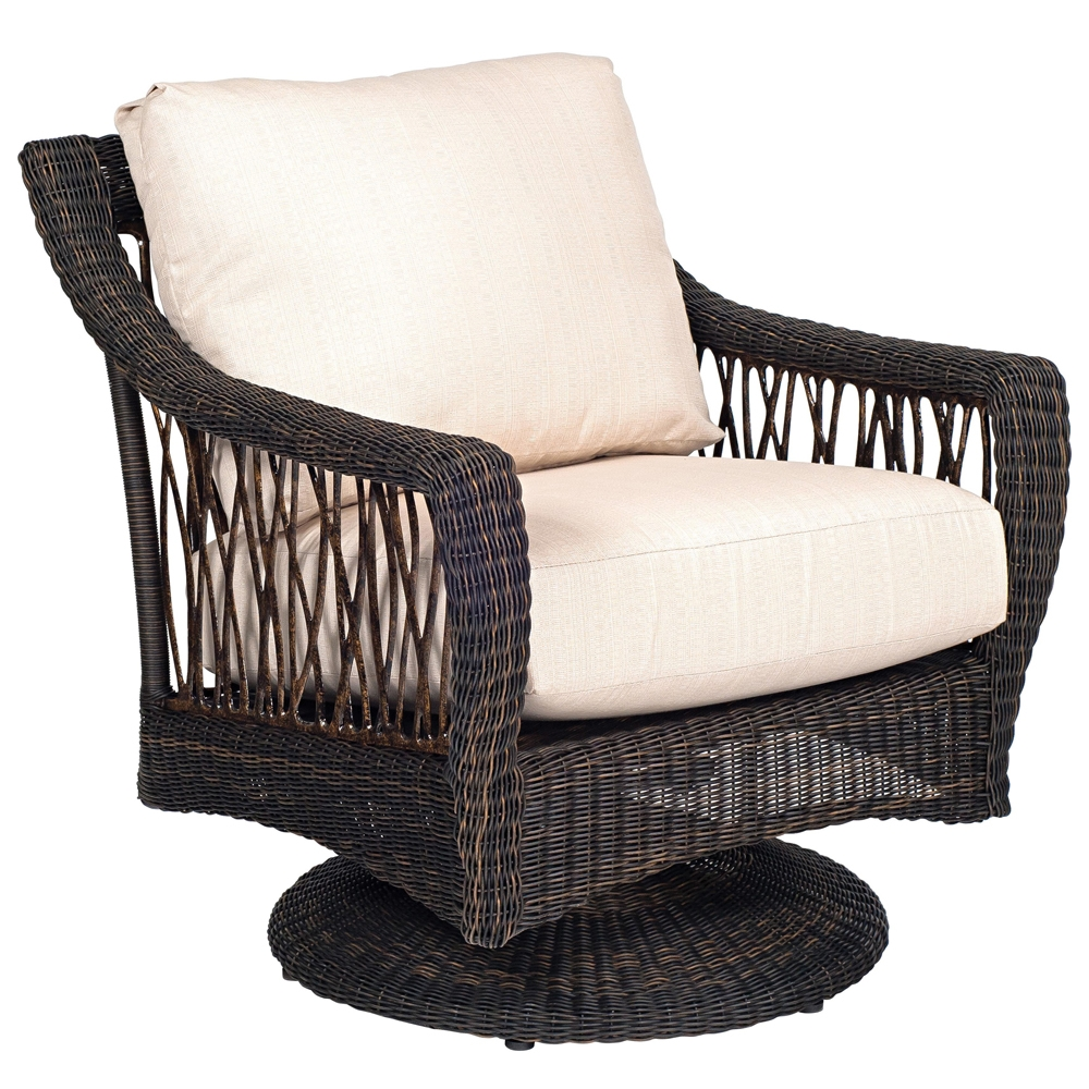 Seren i Swivel Rocking Wicker Lounge Chair Woodard At