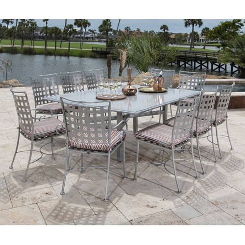 Woodard Sheffield Wrought Iron Patio Dining Set for 10 - WD-SHEFFIELD-SET5