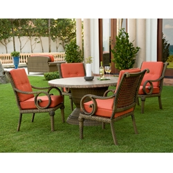 Woodard South Shore 5 Piece Patio Dining Set - WHITECRAFT-SOUTHSHORE-SET1