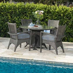 Woodard Trinidad Outdoor Wicker Dining Set for 4 - WD-TRINIDAD-SET3