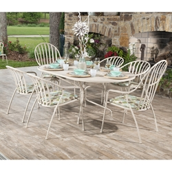 Woodard Valencia Wrought Iron Outdoor Dining Set for 6 - WD-VALENCIA-SET3